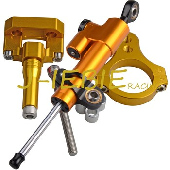 CNC Steering Damper Stabilizer and Gold Bracket Mounting For Yamaha YZF R3 2013-2015 2014