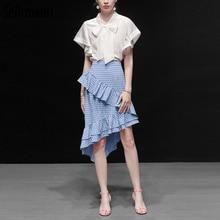 Seifrmann 2019 Women Summer Suits Runway Fashion Designer Ruffles Bow Tie Coat+Striped Print Skirt Casual Elegant Two Pieces Set