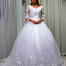 C V Arab Ball Gown Princess Wedding Dress 2019 New Long Sleeve V neck Lace Up