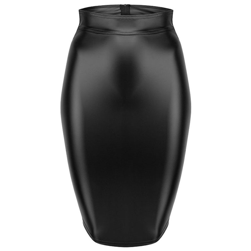 Gothic Wet look Black Faux Leather Skirt Sexy Punk Back Zipper Lace Up Wrap Pencil Skirt 2018 Summer Bodycon Midi Skirts Womens (2)