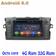 for toyota Auris Octa core PX5 Android 8.0 car dvd gps player with 4G RAM 32G ROM wifi 4g usb auto Multimedia