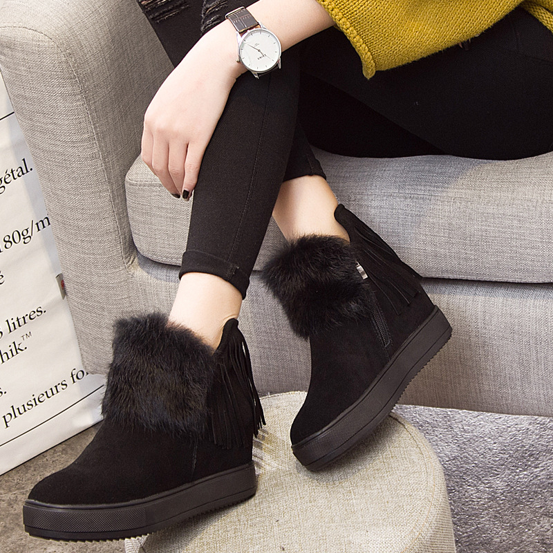 Women s boots 2018 new winter warm fashion genuine leather snow boots thick bottom rabbit fur