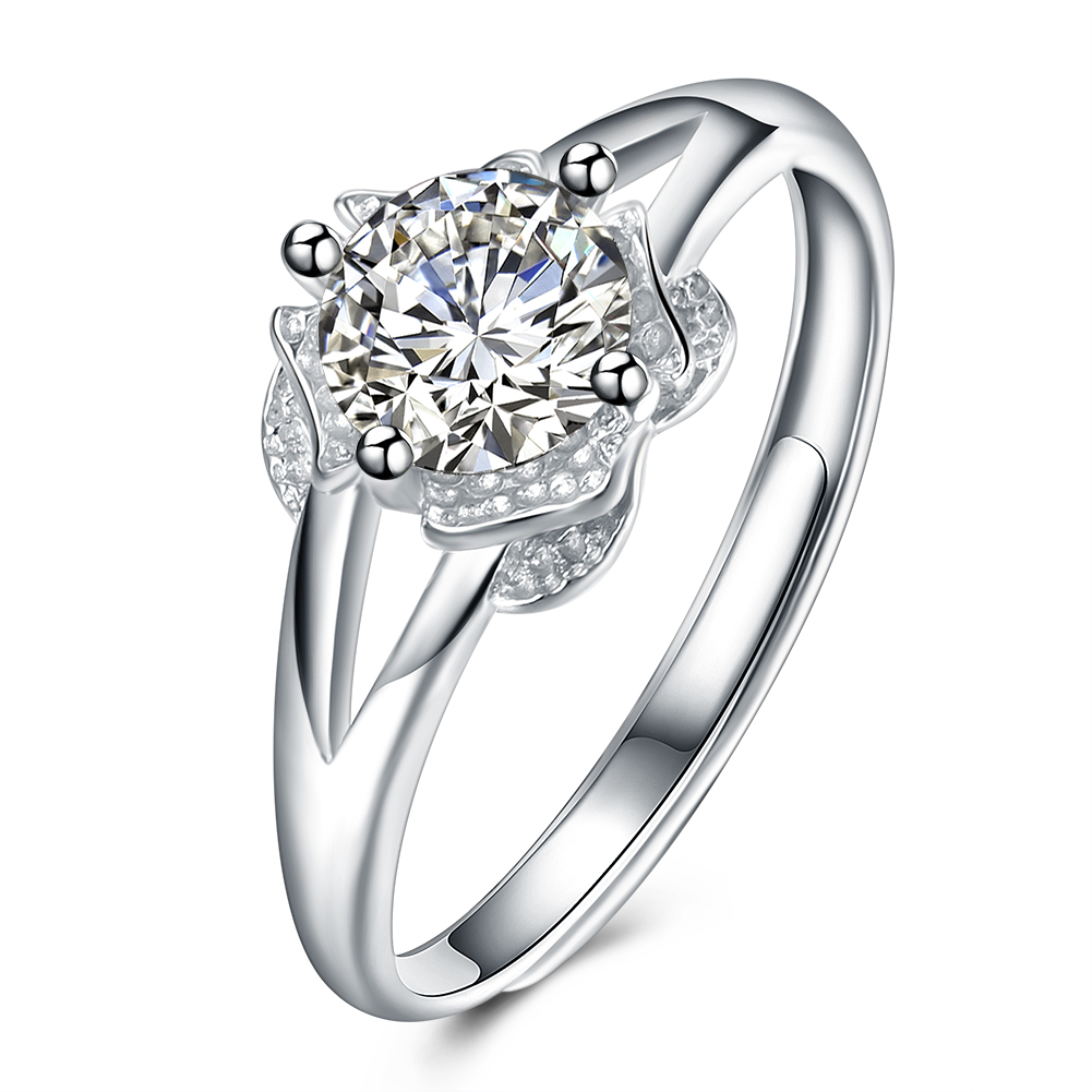 Women's Silver Color Cubic Zirconia Ring Cute Romantic Engagement Sunflower  Wedding Bands Jewelry(china (