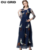 Women Autumn Dress 2015 New Fashion Bird Embroidery Maxi Long Dress Patchwork Mesh Long Sleeve O