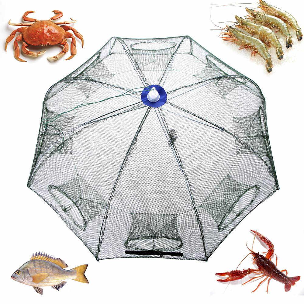 Jaring Ikan Portabel Hexagon 8 Lubang Otomatis Memancing Udang Perangkap Jaring Ikan Kecil Kepiting Umpan Melemparkan Jaring Jala 93*93 Cm Nilon