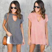 Plus Size Women Clothing Summer Women's Lady Loose Short Sleeve Casual Cut Out T Shirt Hollow Out Tops Blusas