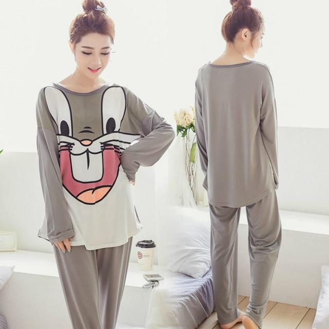 Женщины С Длинным рукавом пижамы наборы Мультфильм bugs bunny молоко шелковый пижамы леди весна осень ночное пижамы наборы Бесплатная доставка