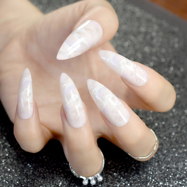 24pcs Grant Long Stiletto Nails Marble Patterns Pointed False Nail Natural White Acrylic Diy