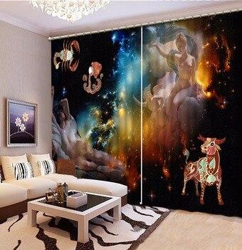 Custom Curtain Blackout Curtain Fabric European Cartoon Constellation Curtains For Bedroom Curtain For Bathroom Kitchen