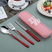 3Pcs/Set 304 Stainless Steel Dinnerware Dinner Spoons Forks Chopsticks Combination Tableware Cutlery Set Kitchen Accessories