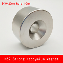 1pcs N45 N52 40x20 hole 10 mm strong powerful Neodymium magnet Permanent Magnet 40*20 hole 10mm N52 magnetic ledere 5pcs lot y30 ring ferrite magnet 60 10 mm hole 32mm permanent magnet 60mm x 10mm black round speaker magnet 60x10