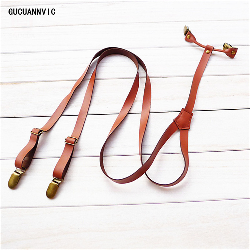 GUCUANNVIC New British Retro Decorative Leather Suspenders Unisex Strap England Style Pants Braces Men And Women Suspender