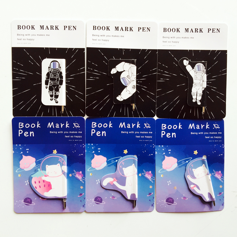 2pcs/lot Kawaii Cat Astronaut Magnetic Bookmark Pens Books Marker Of Page Stationery School Office Supply Paper Clip
