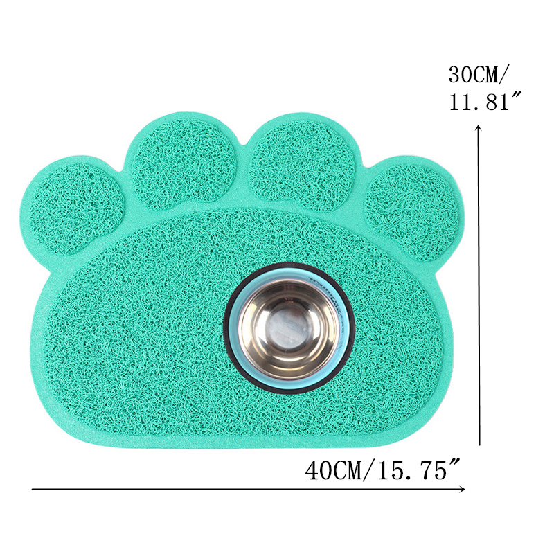 PVC Dogs Feeding Mat Cute Paw Shape Pet Bowl Placemat for Puppy Kitten Animals Easy Cleaning Dogs Cushion Feeder Mat