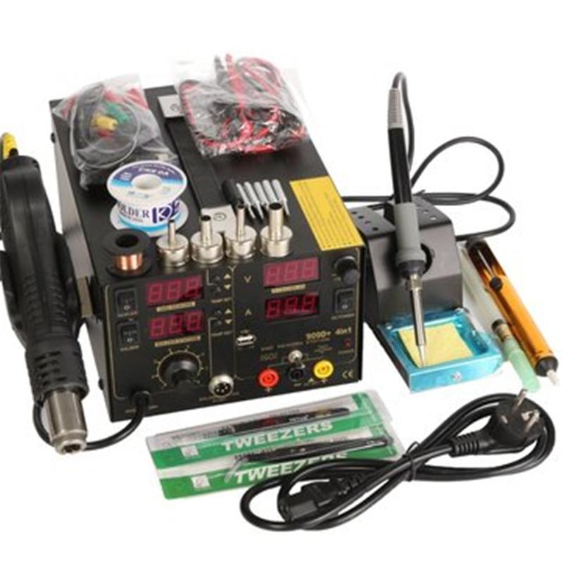 Saike 220V 909D+ Rework Soldering Station + Hot Air Gun + DC Power Supply 3 in 1 Multi-function Set with full Accessories  цены