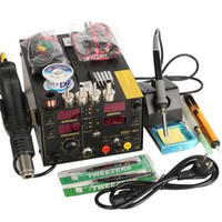 Saike 220V 909D+ Rework Soldering Station + Hot Air Gun + DC Power Supply 3 in 1 Multi function Set with full Accessories
