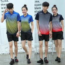 Quick Dry Top Quality Men/Women Sportswear Suit Badminton Table Tennis Shirt Clothes Sport Short Sleeve Polo T Shirts+Shorts Set