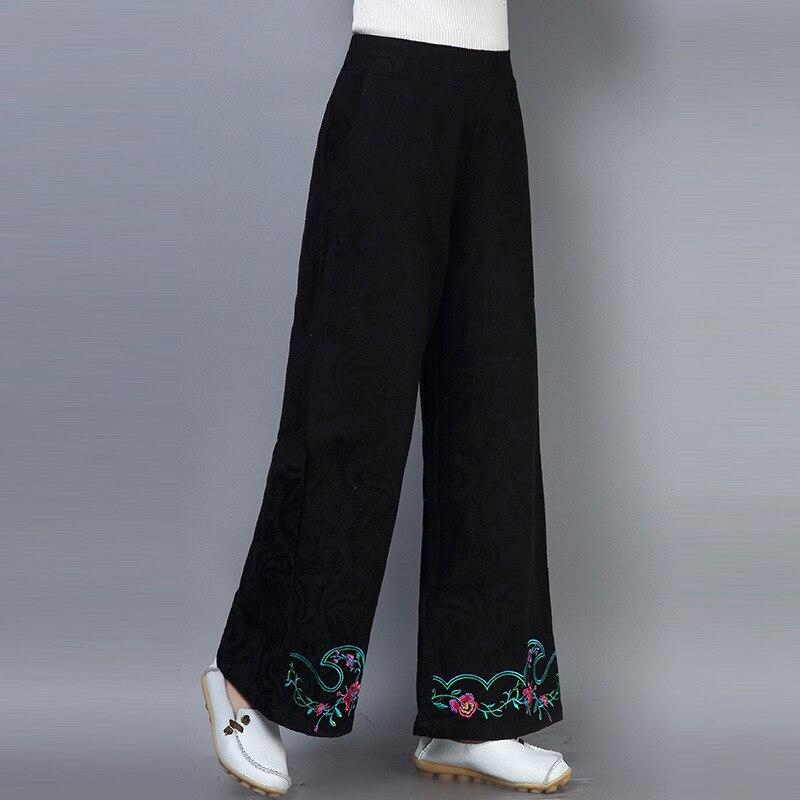 Cotton Linen Women's Autumn New National Wind Jacquard Embroidery Loose   Wide     Leg     Pants