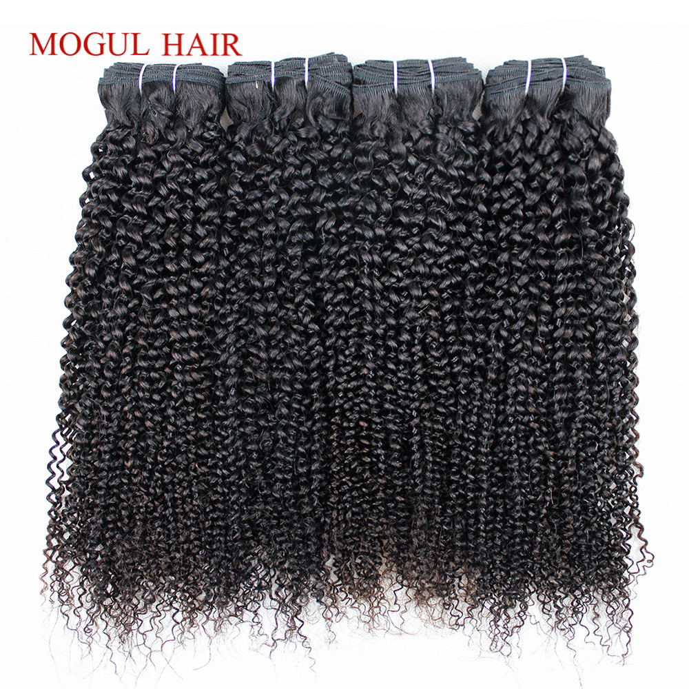 MOGUL HAIR 4 Bundle Deals Afro Kinky Curly Hair Weave Raw Indian Remy Human Hair Extensions 10-26 inch Afro Style