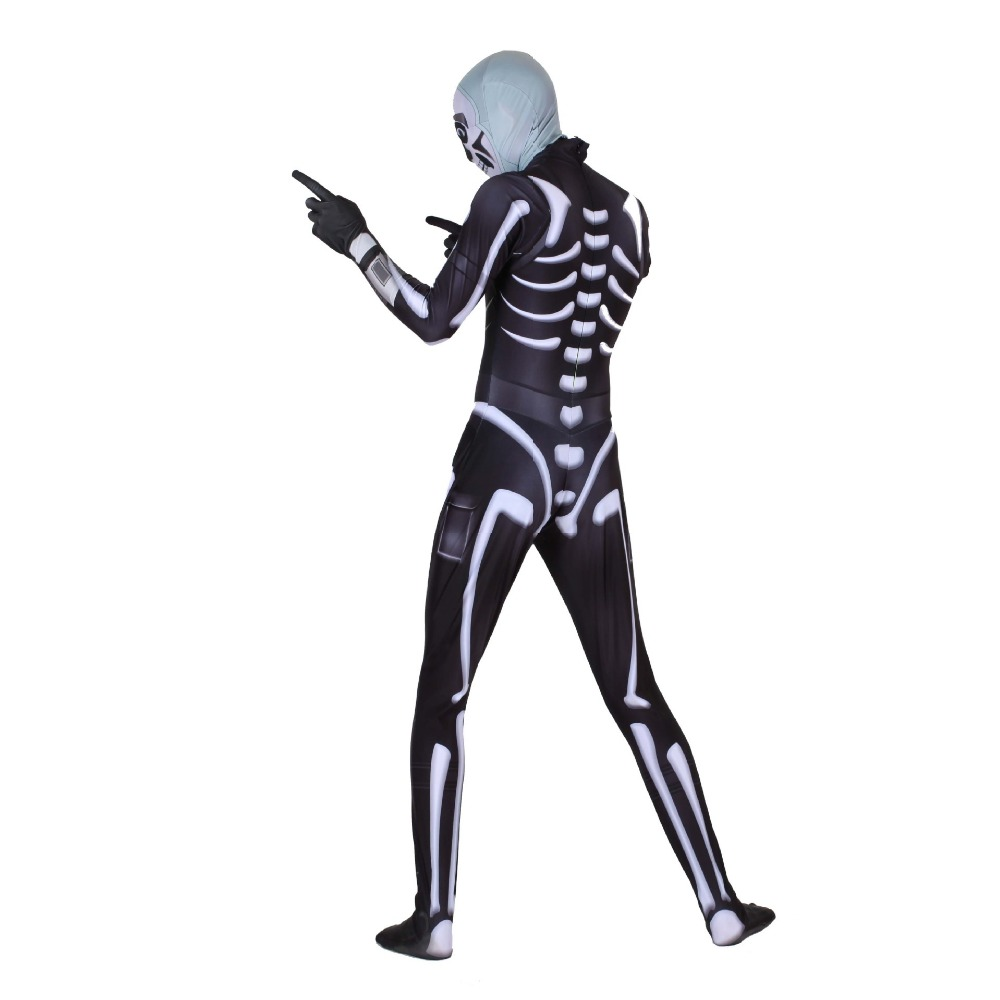 Free shipping adult Halloween Night Black Skull cavalry skull Trooper Cosplay body tights suit JQ 1157 in Game Costumes from Novelty Special Use