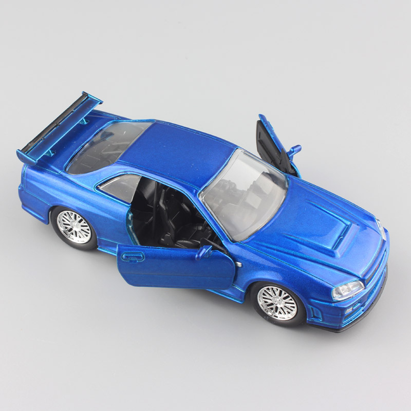 Jada 1 32 Scale FAST and FURIOUS Brians Nissan SkyLine GT-R R34 metal diecast model sport race cars auto mini toys for boy blue