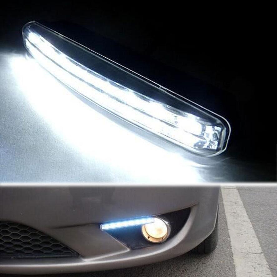 Барбекю@ФУКА 2х 12V автомобиль свет 8led Белый вождения Противотуманные лампы дневные ходовые огни DRL, пригодный для BMW Benz и Ауди Фольксваген Форд Тойота КИА