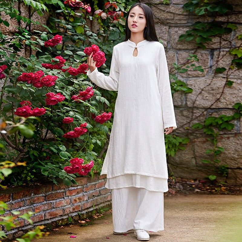 Ženy nové podzimní šaty 2018 bavlněné prádlo s dlouhým rukávem vintage šaty ležérní volný stojan solidní prošívání Čína styl