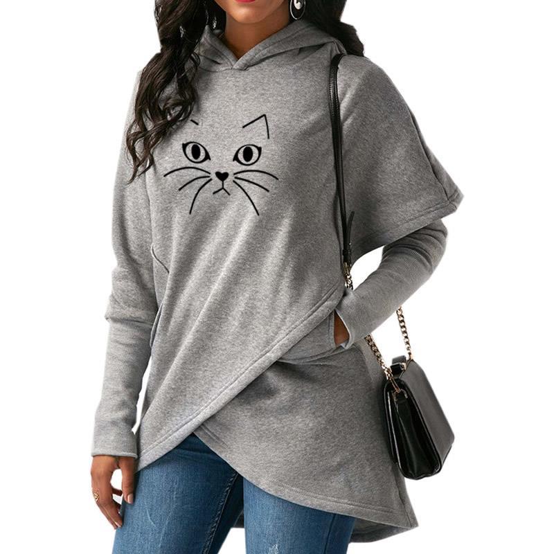2018 Neue Mode Katze Druck Tops Sweatshirt Femmes Sweatshirts Kawaii Cord Casual Kleidung Harajuku Gestellte Plus Größe