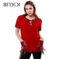 2016 Brand New Summer Womens T Shirts Short Sleeve Pocket Stitching DrawstringTops Tees T Shirt Fashion