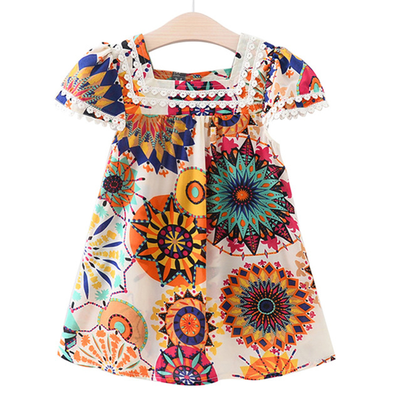 Girls Dress 2018 Brand New Summer Style Girls Clothes Sleeveless Sunflower Print Design Dresses Children Clothes 2-7Y Dress 2017 new summer toddler kids girls sleeveless t shirt dress children girls elegant lace dresses light blue dress for 3 7y