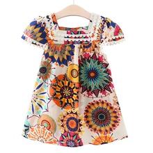 Платье для девочек 2018 новый летний Стиль Одежда для девочек без рукавов с принтом в виде подсолнухов дизайн платья детская одежда От 2 до 7 лет платье