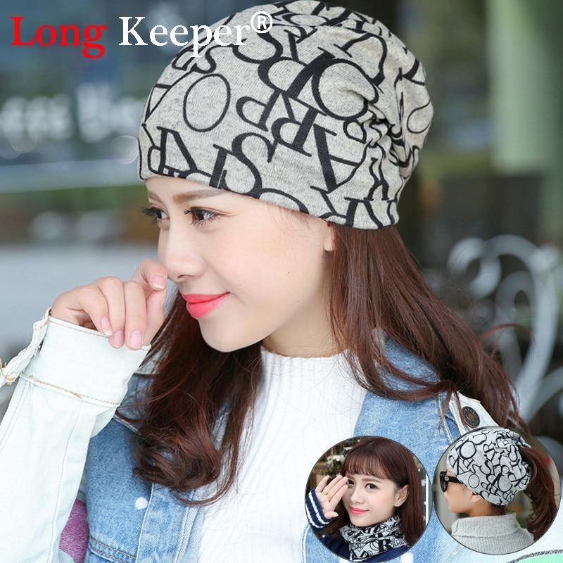 Long Keeper Korea Hip-Hop Hat &Sacrf Women Autumn Spring Warm Beanies Knitted Cotton Hat Skullies Lady Touca Letter Gorro Caps