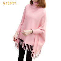 Autumn Winter Women Knitted Sweater Cape Poncho Coat Solid Elegant Pullover Jumper Irregular Tassel Hem Cloak