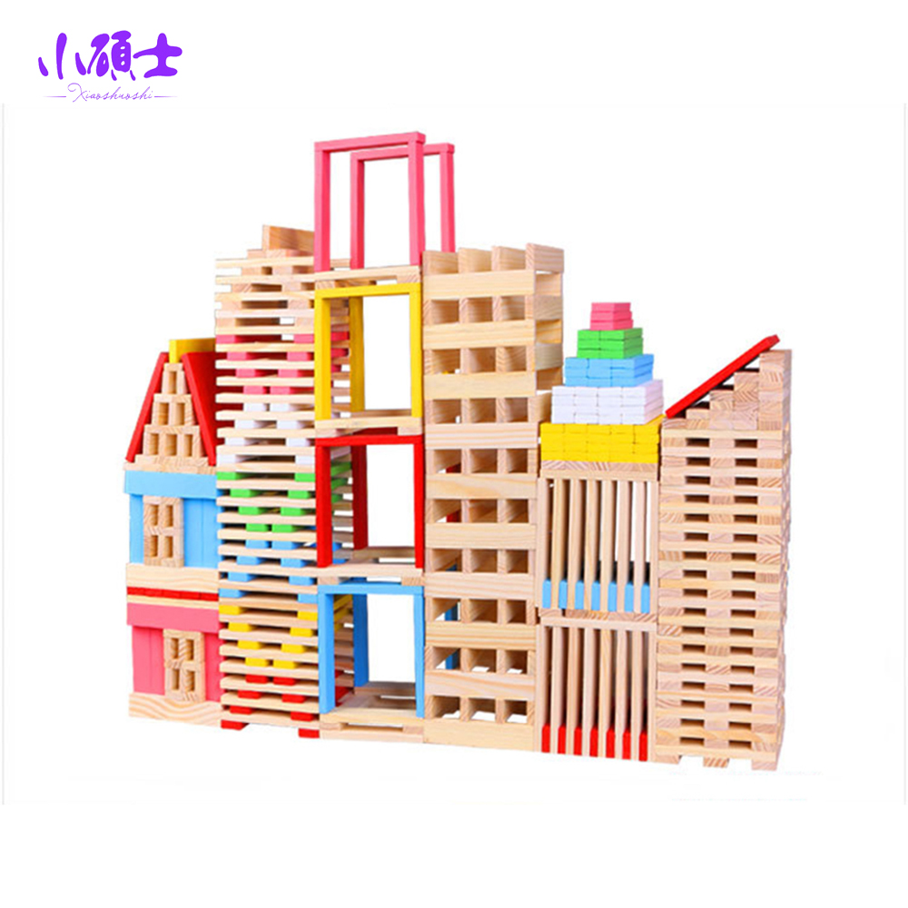 150PCS Wooden Building Blocks Jenga For Children Kids Learning Education Intelligence Model Shape Toys Gift learning education wood intelligence box montessori educational toys for children kids toy 13 holes shape sorter early toys