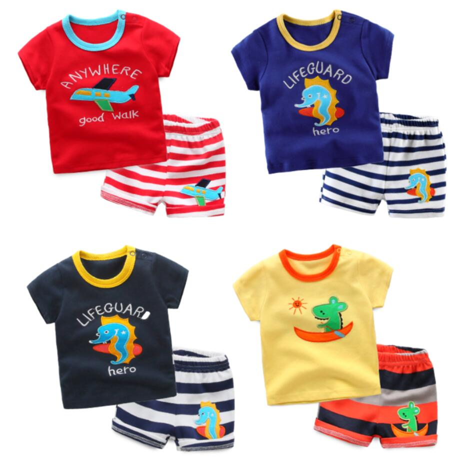2018 new children clothing baby boy summer cartoon cotton clothing set t-shirt+shorts 2 pcs set for 0-24 Months baby boy clothes