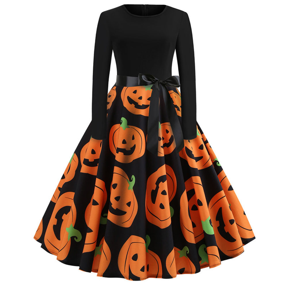 New Women's Vintage Print Long Sleeve Halloween Evening Party Swing Dress Halloween holiday atmosphere #5/25