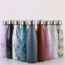Stainless Steel Thermos Leak-proof Water Bottle Marble Texture Vacuum Insulated Drink Gym Sport Cup