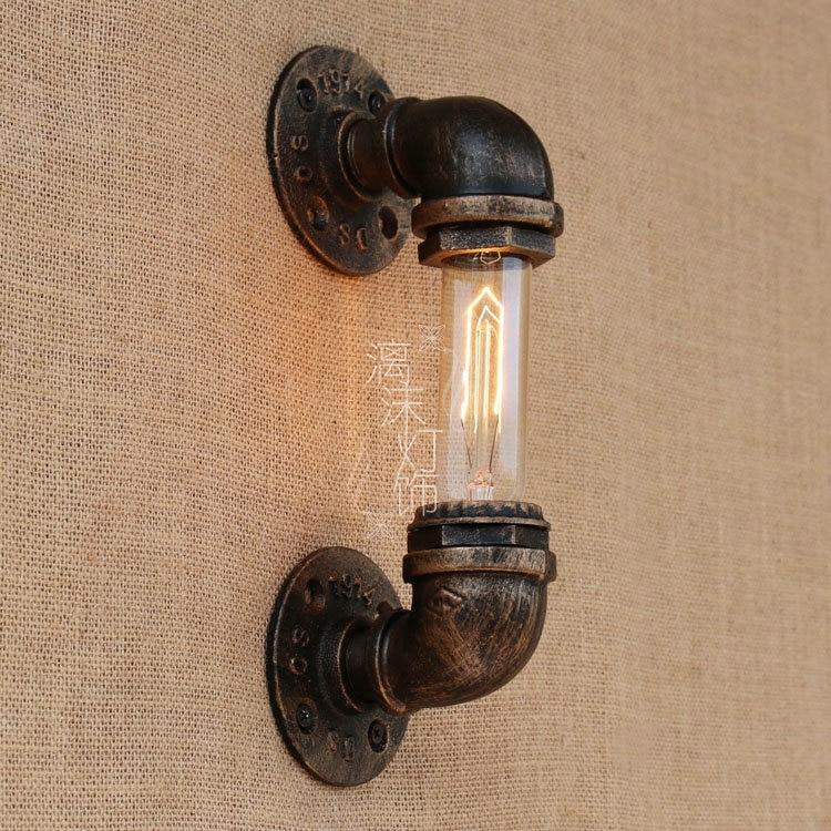 retro pipe wall lamp modern Scandinavian Cafe bedroom warm novel  lighting creative  wall light iron lamps ZA995