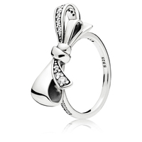 2018 New Retro Real 100 S925 Silver Clear Zircon Brilliant Bow Ring Fit Original Panqiou For