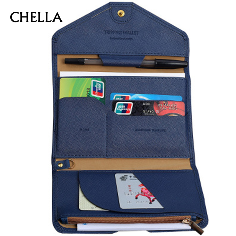 CHELLA Travel Passport Cover Foldable Credit Card Holder