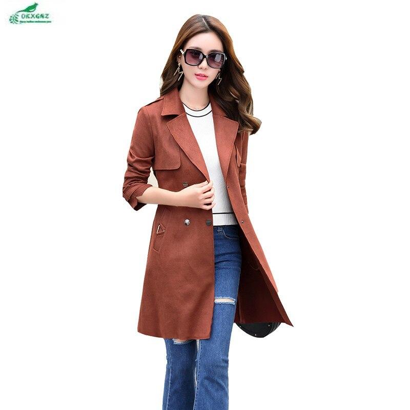 Winter casual windbreaker coat female medium long section Korean Big yards spring and summer new Slim Outerwear female OKXGNZ 06
