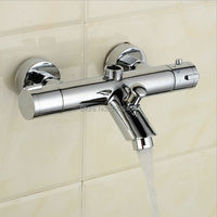Vender Grifo de ducha mezclador termostático grifo de agua doble manija cromo pulido termostático mezcla válvula torneira de parede TR508