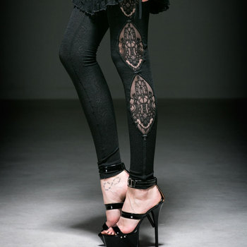Gothic Knitted Dark Fringe Jacquard Legging Steampunk Visual Kei Black Sexy Hollow Out Leggings black hollow out stretchable leggings