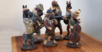 Dog Jazz Band Simulation animal articles ancient creative Resin Music Violinist Statue Craft Ornament Home Bar Decoration gifts