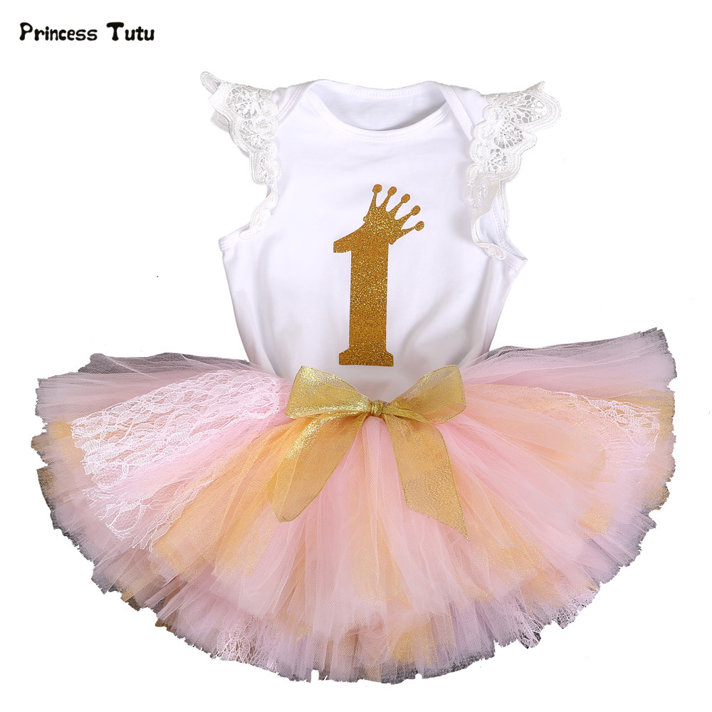 Newborn Baby Girl Clothes Set 2pcs Suit Lace Bodysuit +Tutu Skirt 1st Birthday Outfit Fashion Party Toddler Infant Clothing Sets цена