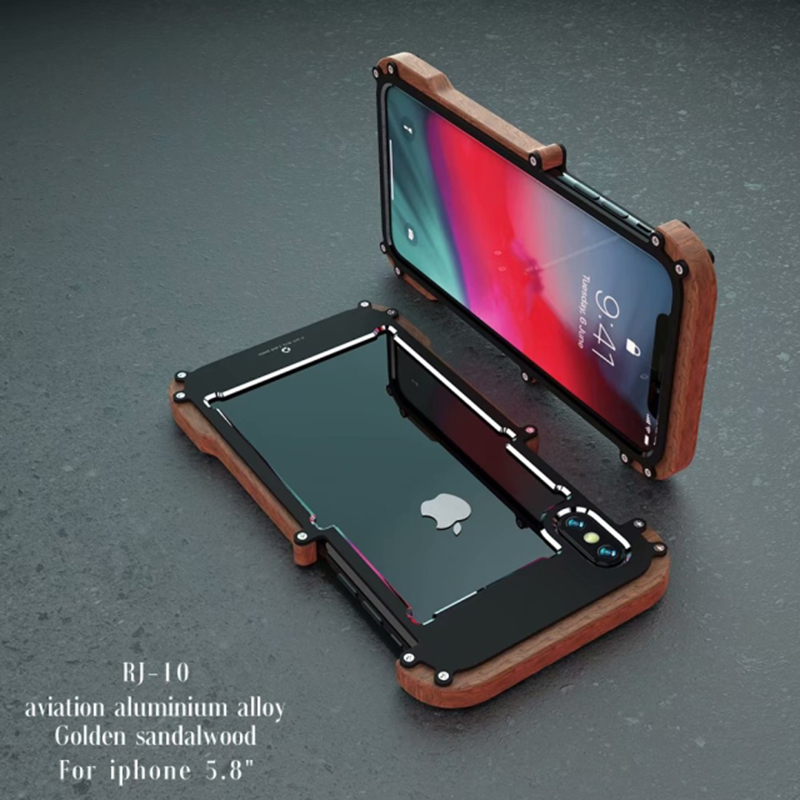 Newest Brand Shockproof Armor Wood Grain Aluminum Metal Bumper Frame Case Cover For iphone X Shell Wood Frame R just
