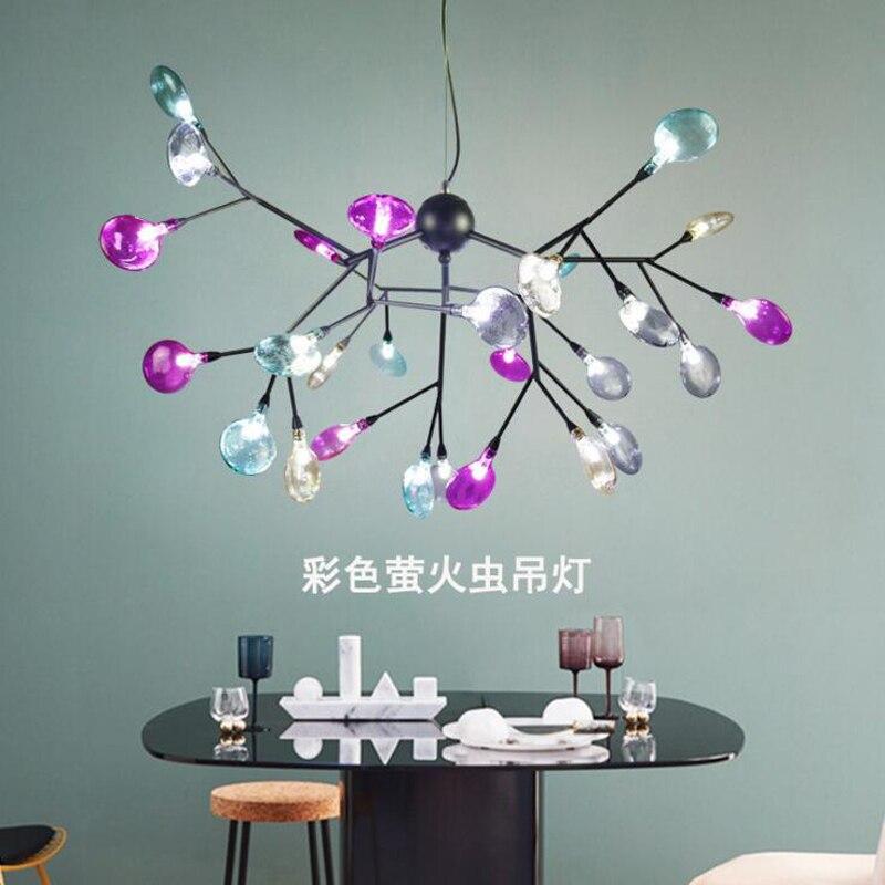 Люстра Светлячок Nordic творческая гостиная лампа светодио дный спальня ресторан люстра витражи люстра светодио дный приспособление