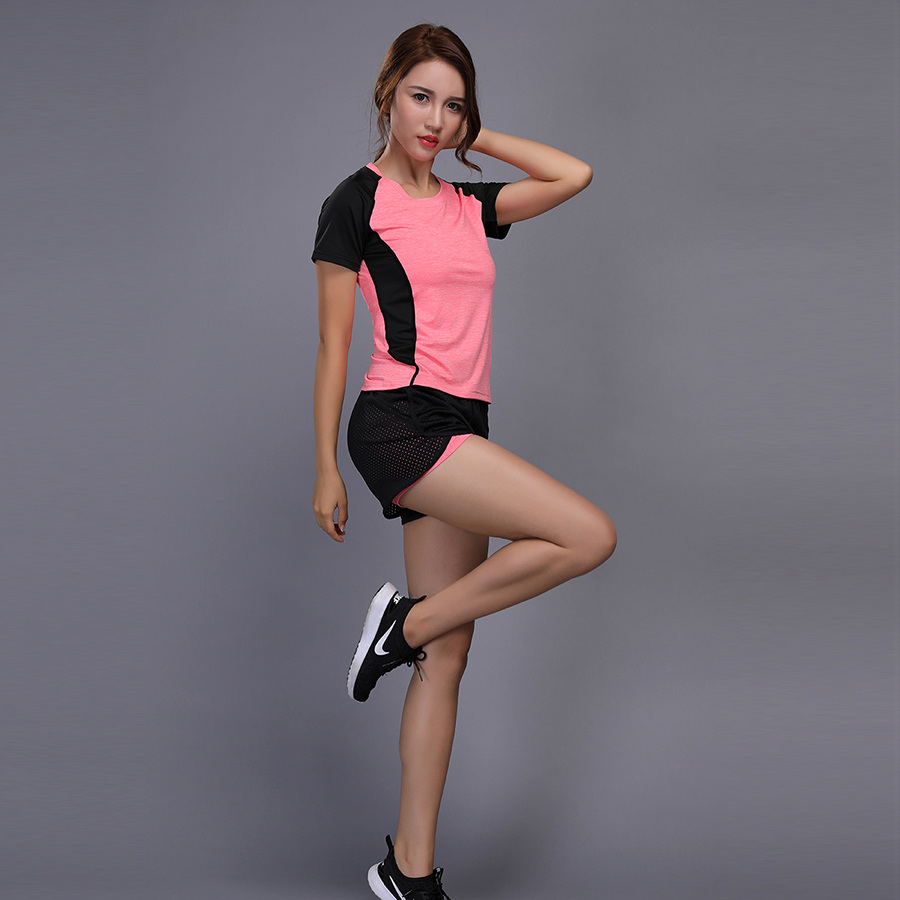 Yoga Women sets Gym Fitness Tennis + shorts Running skiny Tights Jogging Workout compression Leggings Sports suit W101-3