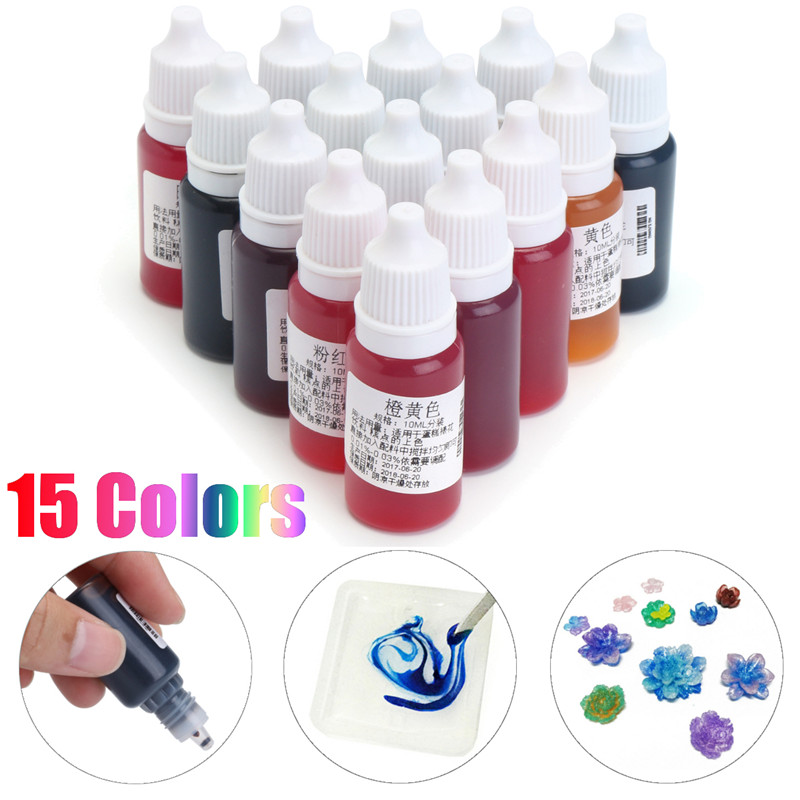 15Pcs/set 10mL 15 Colors Dye Epoxy Resin Pigment UV Resin Coloring Dye Colorant Resin Pigment DIY Handmade Craft Supplie Art Set
