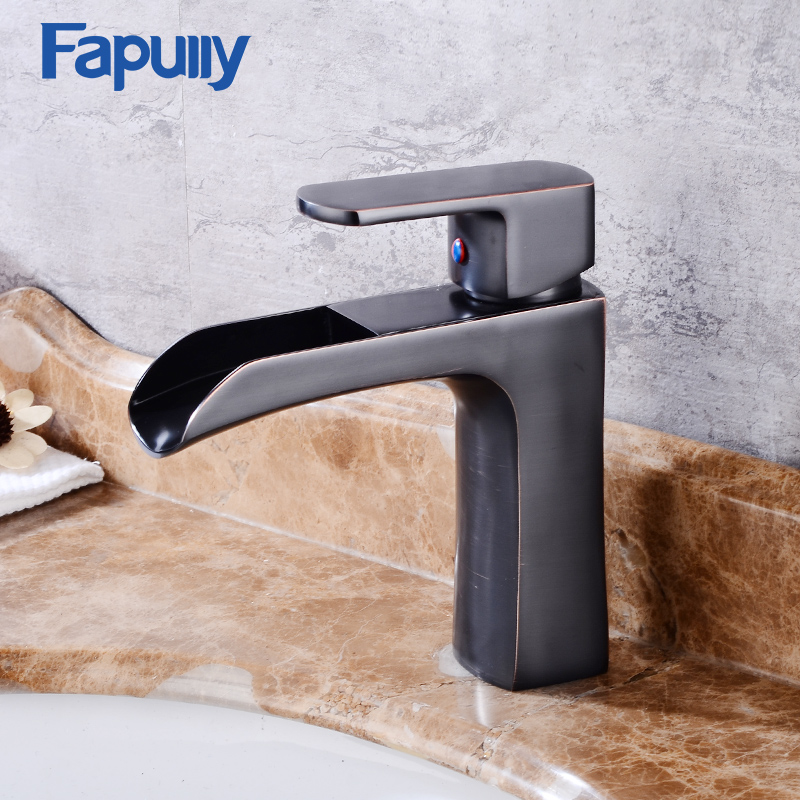 Fapully Waterfall Faucet Bathroom Bath Oil Rubbed Bronze Black Single Handle Mixer Tap best Basin Faucet